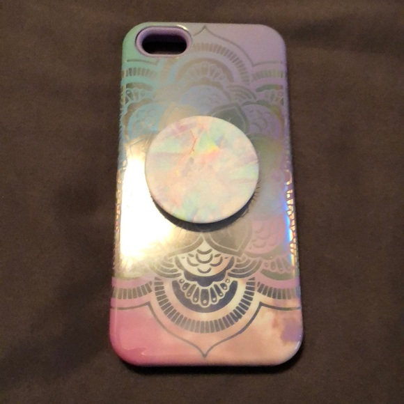 save off a0e9d 4c8d8 iPhone SE 5 Case & Pop Socket purple holographic
